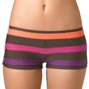 PrAna Tavarua Striped Swim Yoga Shorts Size L